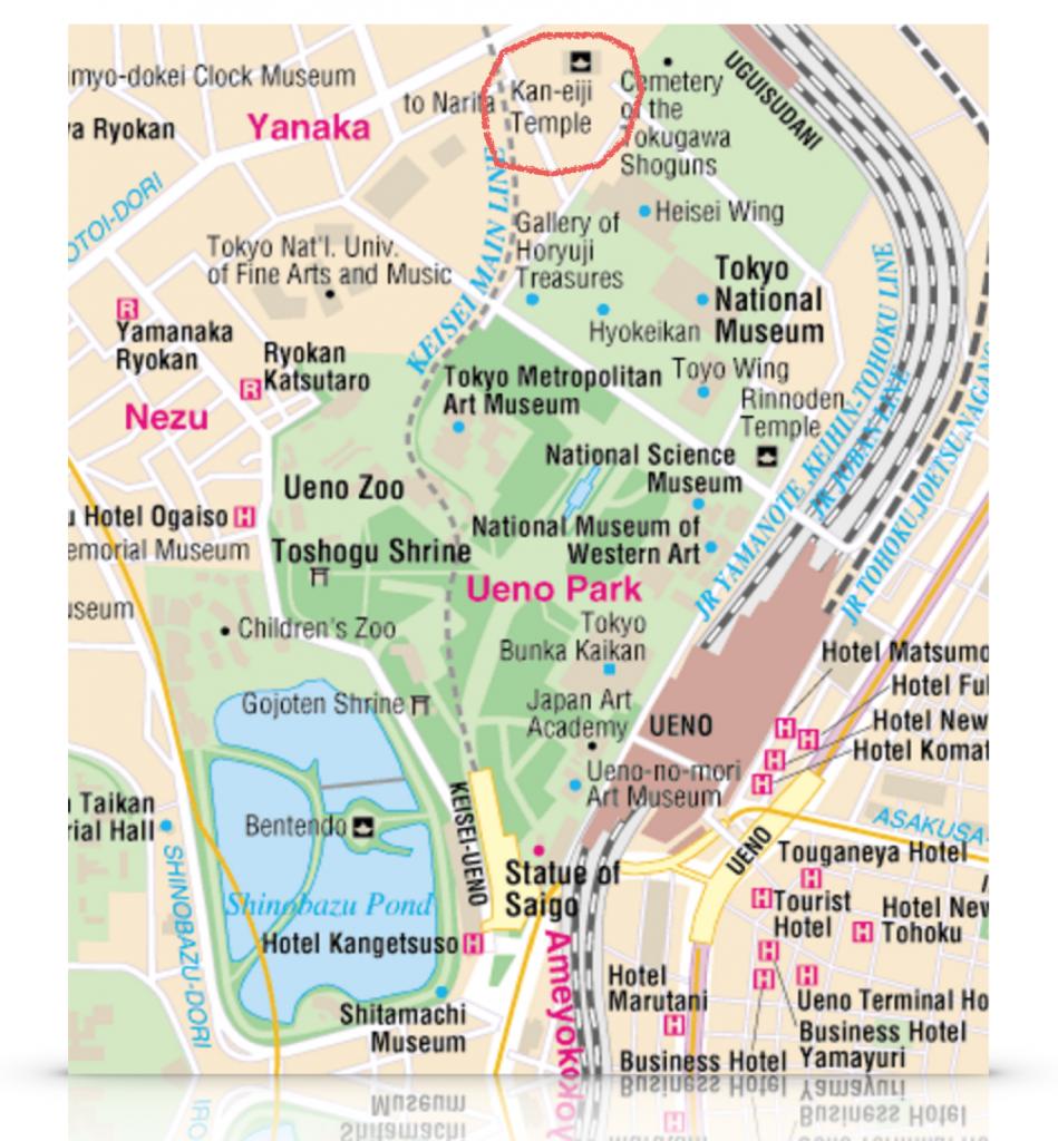 แผนที่ Ueno ที่มา: http://www.tokyoessentials.com/blog/wp-content/uploads/2013/07/ueno_map.gif